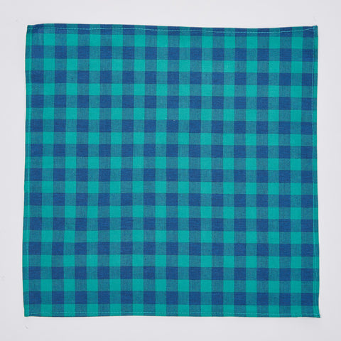 Green & Blue Buffalo Check Pocket Square