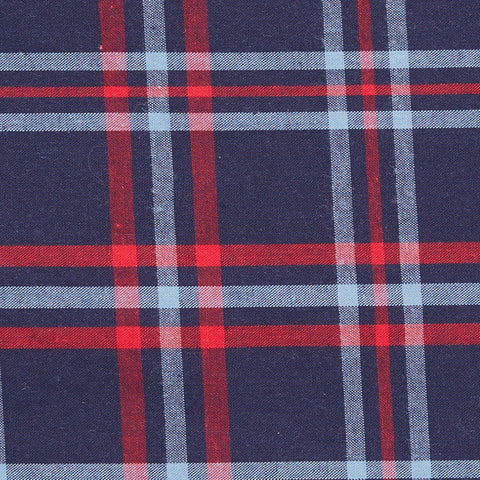 Navy & Red Plaid Pocket Square