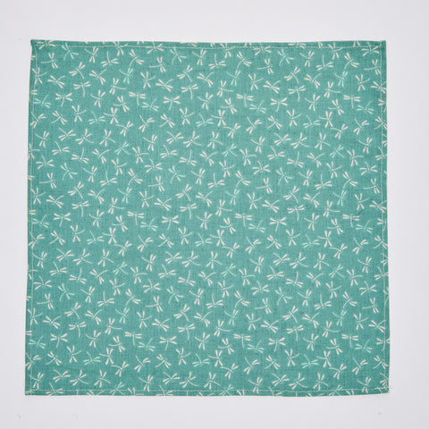 Jade Green Dragonfly Print Pocket Square