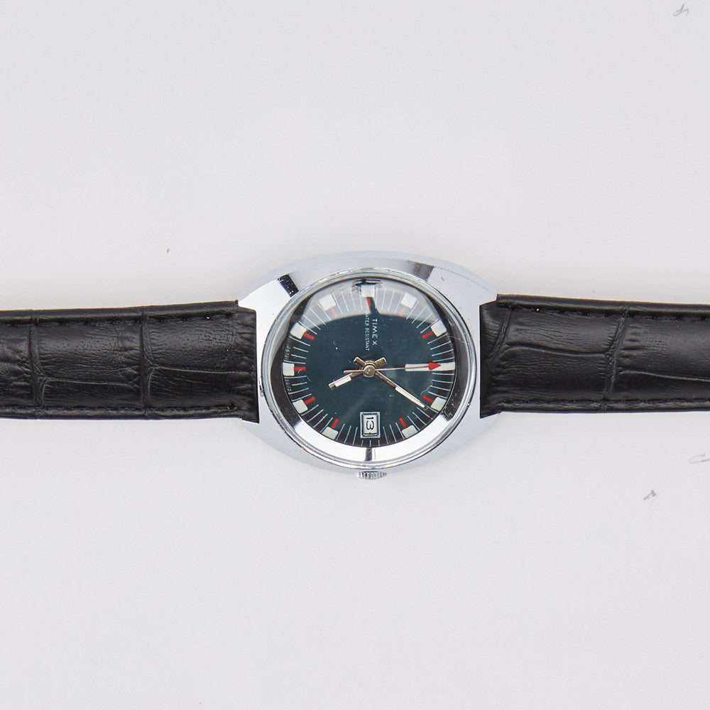Vintage 1972 Timex Military Watch with Blue Dial