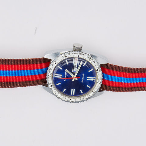 Vintage Clinton Diver's Watch with Striped Band