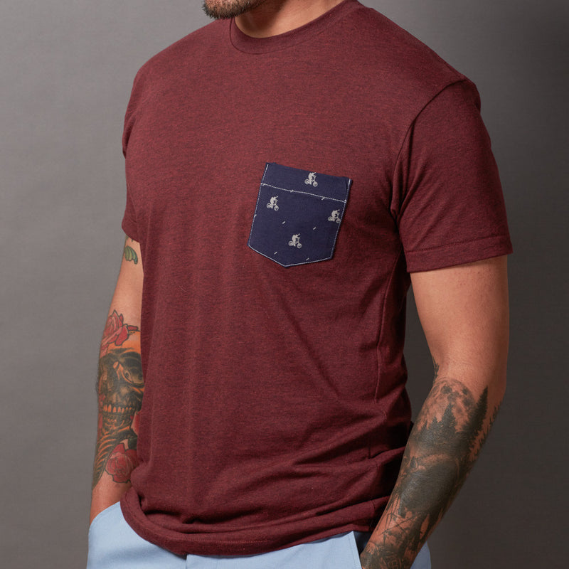 Burgundy Bicycle Newsboy Print Pocket Tee