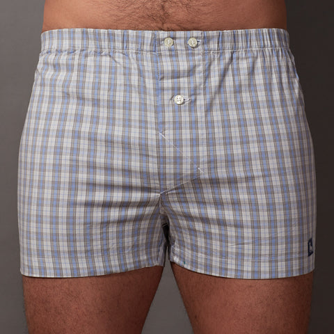 Grey, White & Blue Plaid Boxer Short - Gus