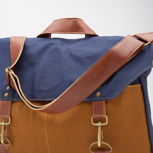 Navy & Whiskey Canvas Messenger Bag