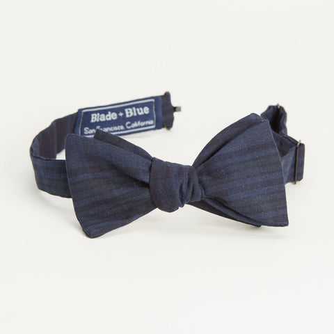 Tonal Navy Blue Overdyed Plaid Cotton Bow Tie