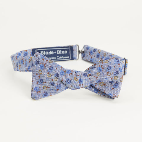 Chambray Floral Print Bow Tie