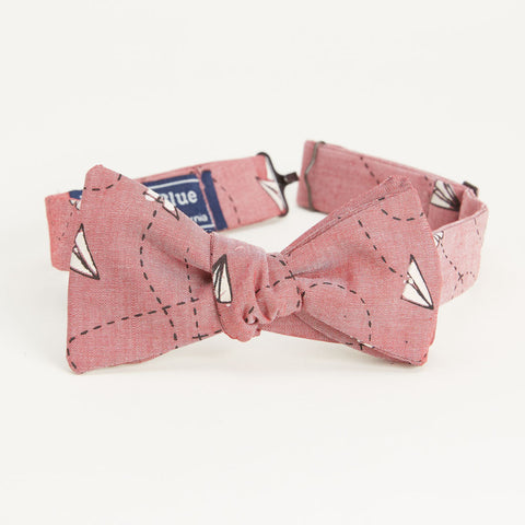 Japanese Indigo Dyed Navy Dragonfly Print Bow Tie