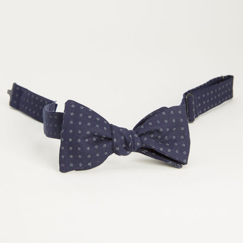Japanese Indigo Dyed Navy Circle Print Bow Tie