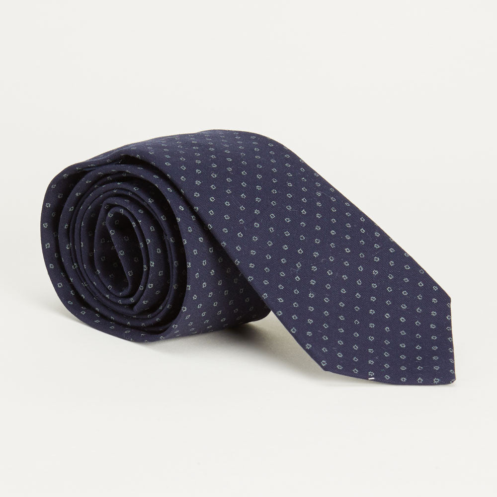 Navy Print Tie Made in USA
