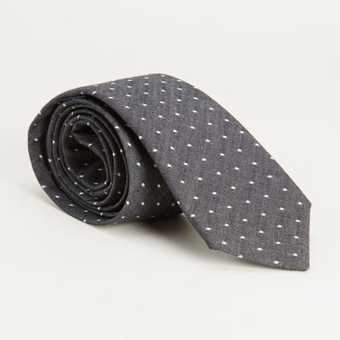 Charcoal Grey Chambray Polka Dot Tie
