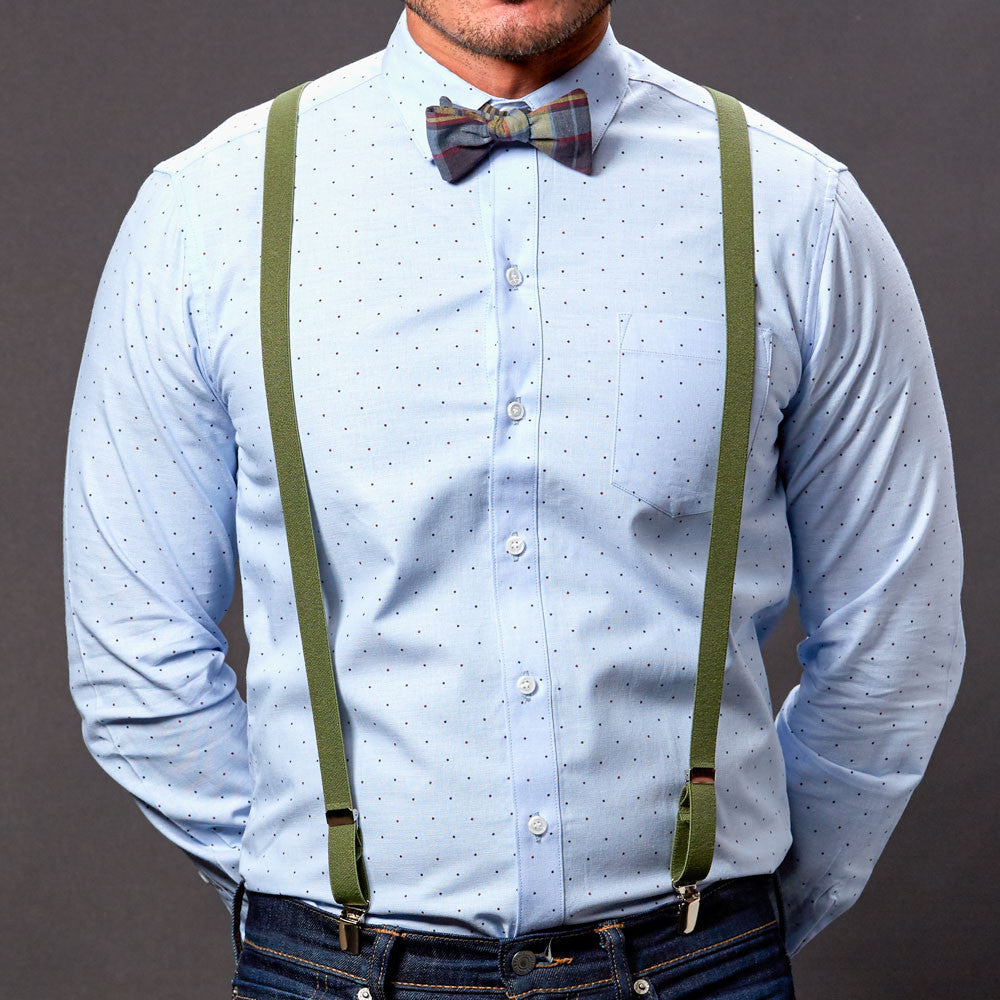 Green Skinny Elastic Suspenders For Men