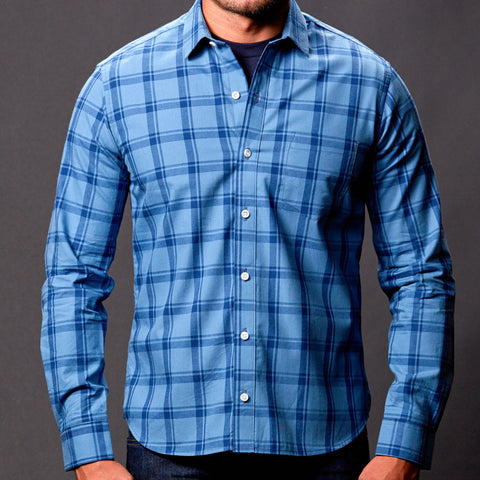Tonal Blue Windowpane Check Shirt - Nate