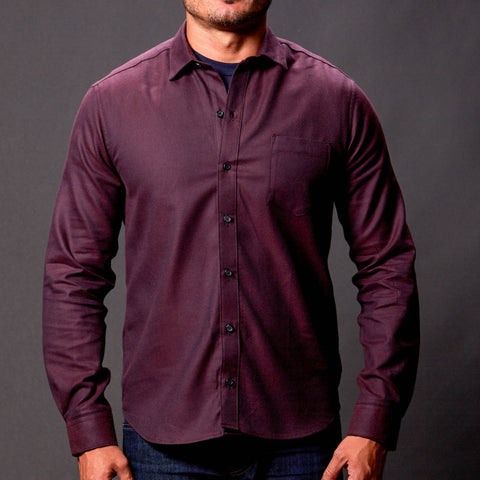 Solid Burgundy Wine Brushed Cotton Shirt - Nico