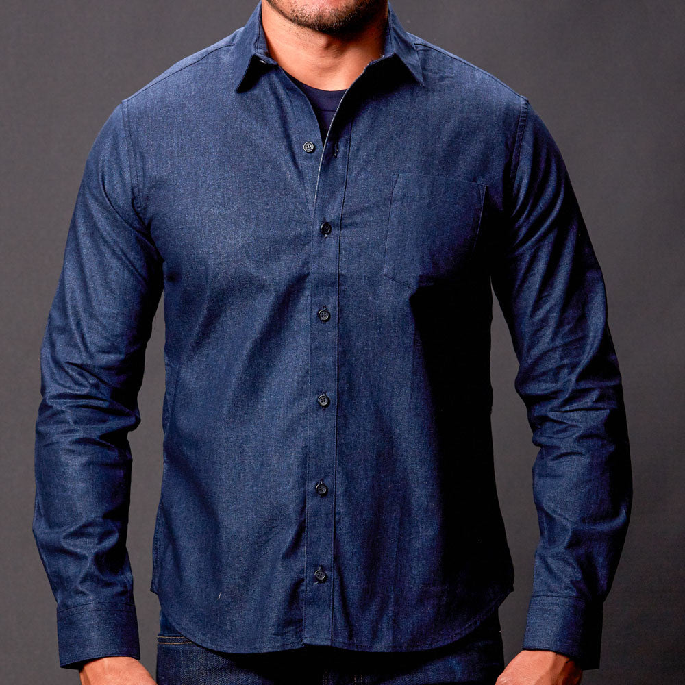 Navy Chambray Shirt for Men