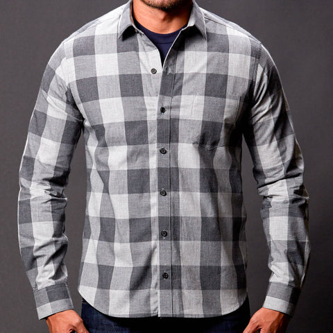 Tonal Grey Buffalo Plaid Shirt - Crofton