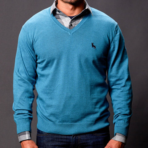 Aqua Blue V-Neck Sweater
