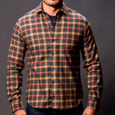 Orange, Grey Heather & Khaki Plaid Shirt - Maier