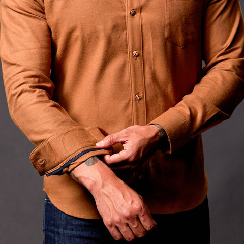 Solid Camel Brushed Cotton Shirt - Bryan