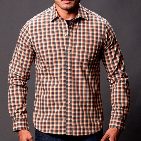 Orange & Grey Heather Check Shirt - Simm
