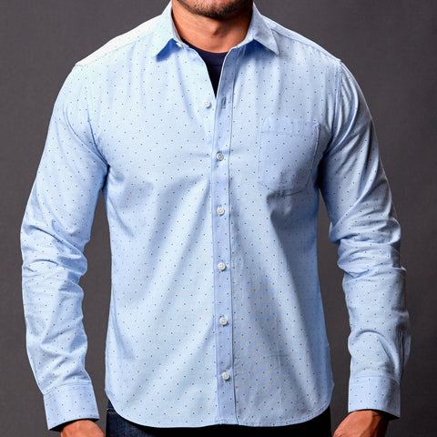 Long Sleeve Khaki Chambray Shirt - Kent