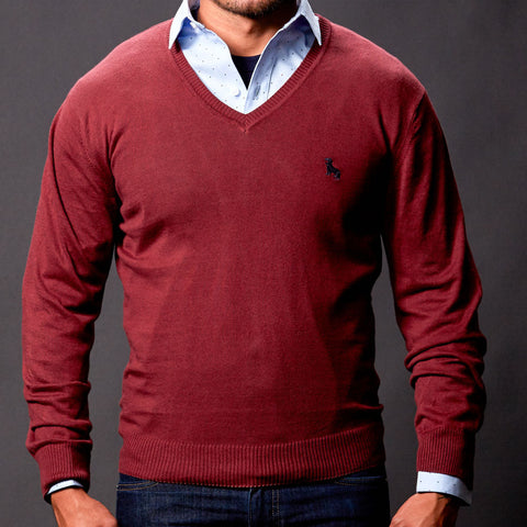 Burgundy Wine V-Neck Sweater