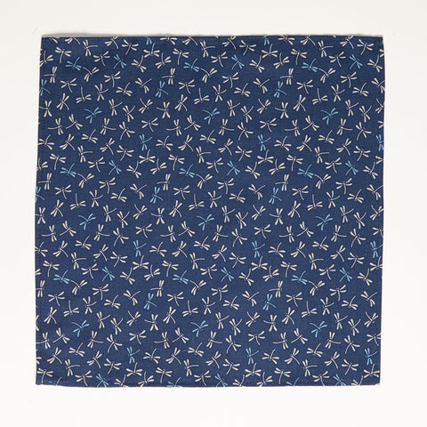 Japanese Indigo Dyed Navy Dragonfly Print Pocket Square