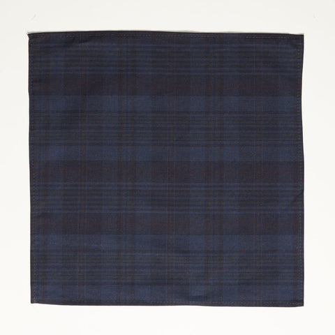 Tonal Navy Overdyed Plaid Cotton Pocket Square