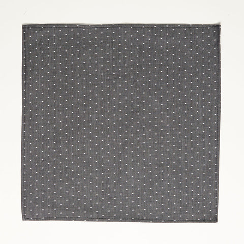 Charcoal Grey Chambray Polka Dot Pocket Square