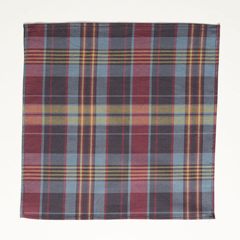 Olive, Burgundy, Navy Plaid Cotton Pocket Square