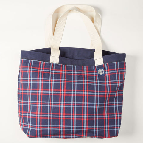 "Navy Canvas & Blue Plaid ""OLD SCHOOL"" Reversible Tote Bag"