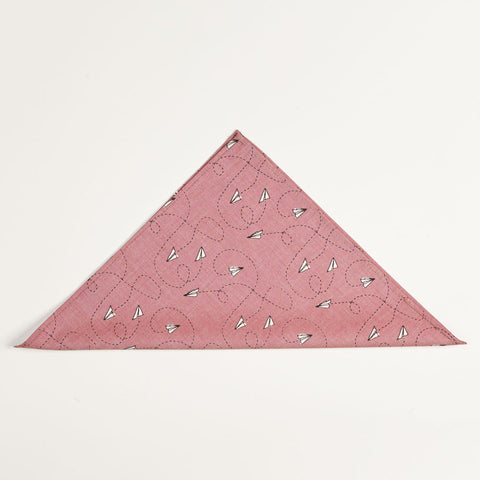 Red Chambray Paper Planes Print Pocket Square