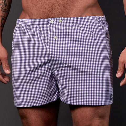 Purple & White Gingham Boxer Short - Gavin
