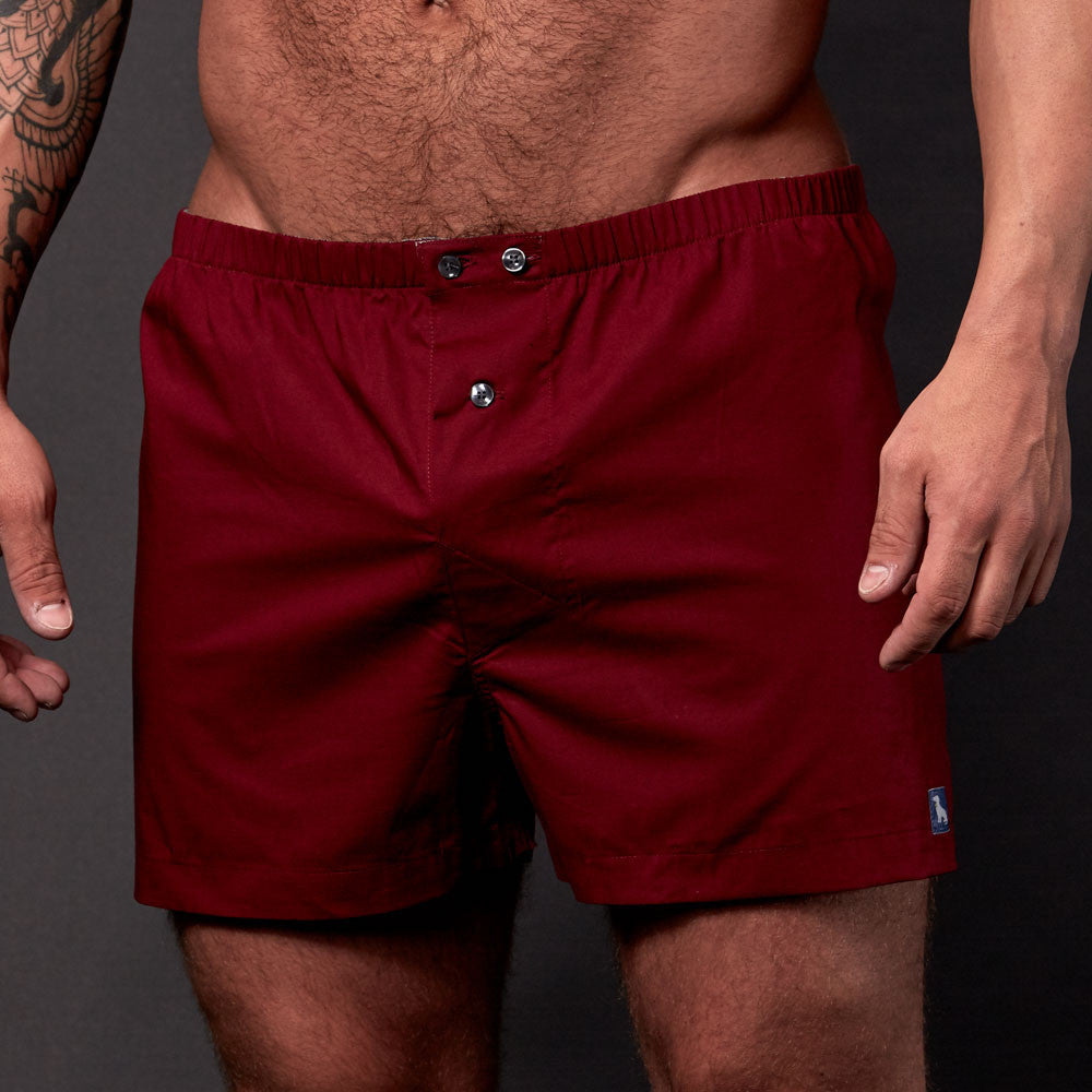 Solid Burgundy Wine Boxer Short