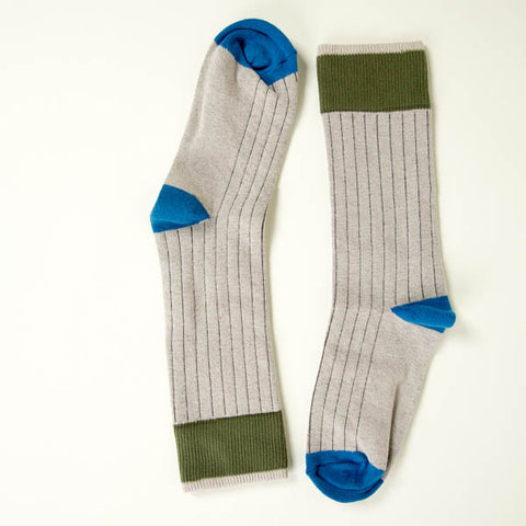 Solid Grey with Olive & Blue Tipping Socks