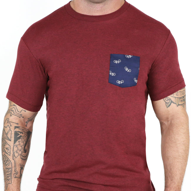 Burgundy with Navy Flying Bikes Print Pocket Tee Sizes S & XL Available