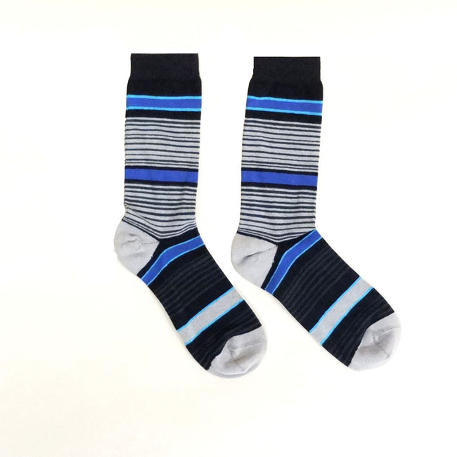 Black, Grey, Aqua Blue Variegated Stripe Socks