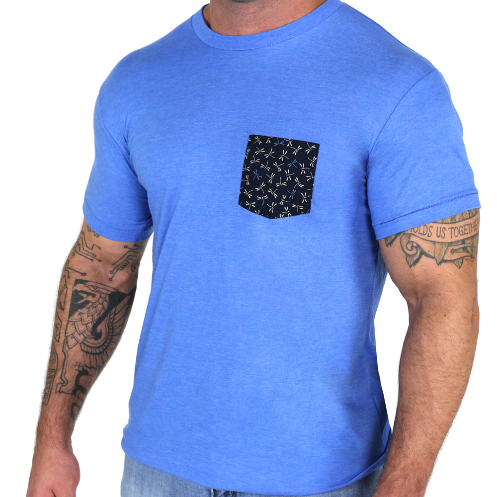 Light Blue with Dragonflies Print Pocket Tee