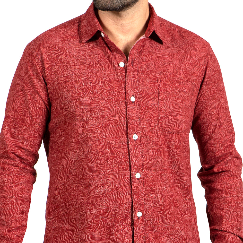 Tomato Red with Japanese Swirl Print Shirt - Zenith One Piece Size M Available
