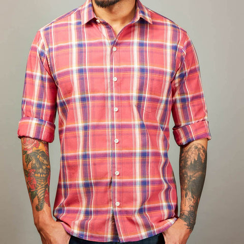 Coral Red & Blue Plaid Shirt  - David