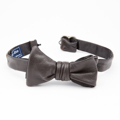 Dark Brown Leather Bow Tie
