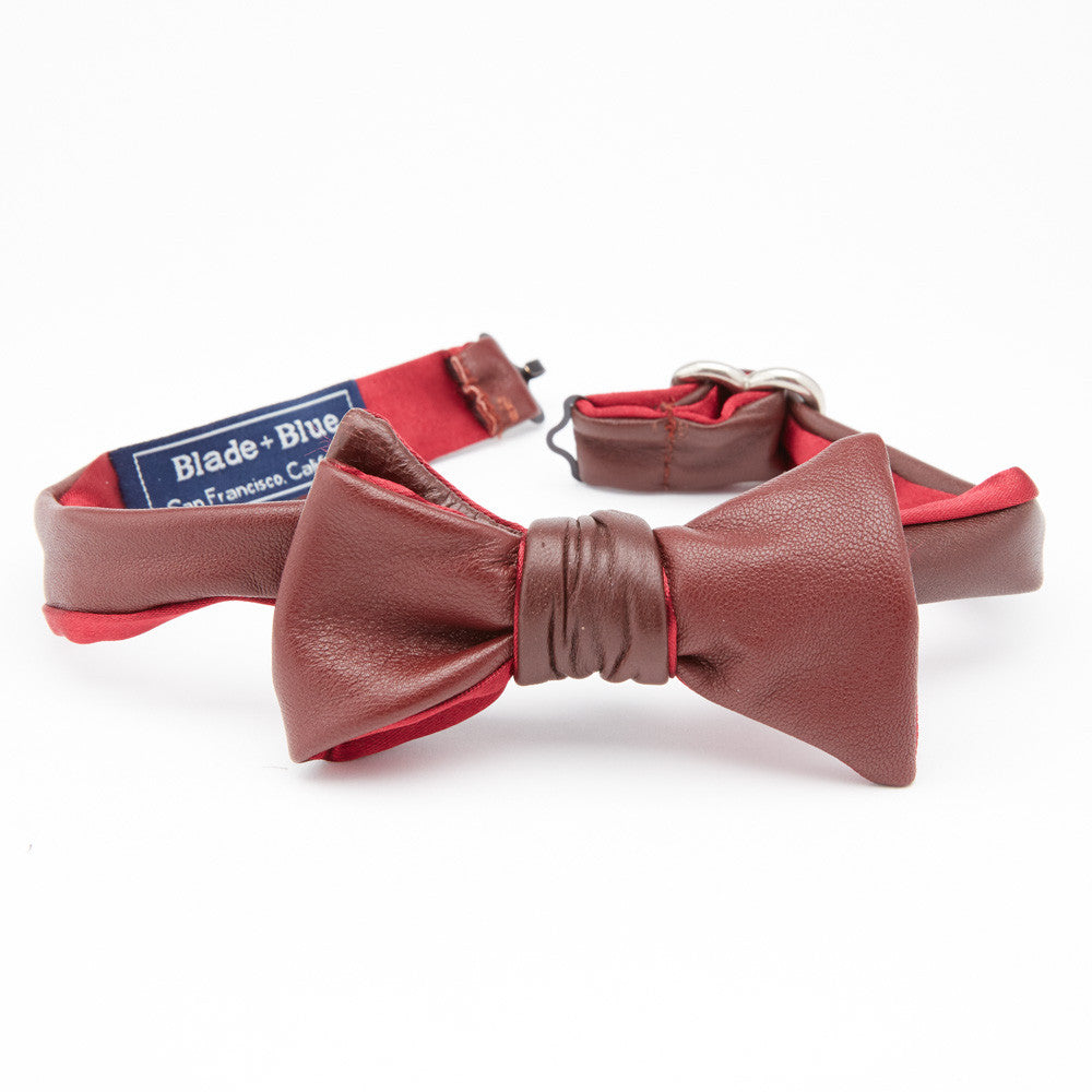 Burgundy Leather Bow Tie