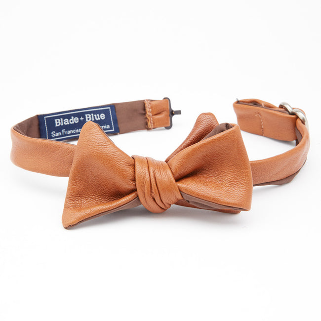 Tan Leather Bow Tie
