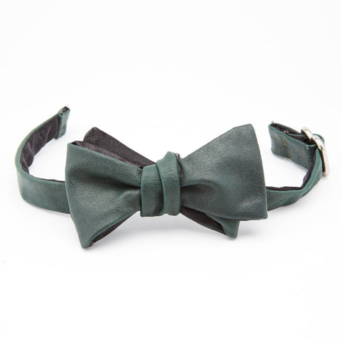 Bottle Green Leather Bow Tie