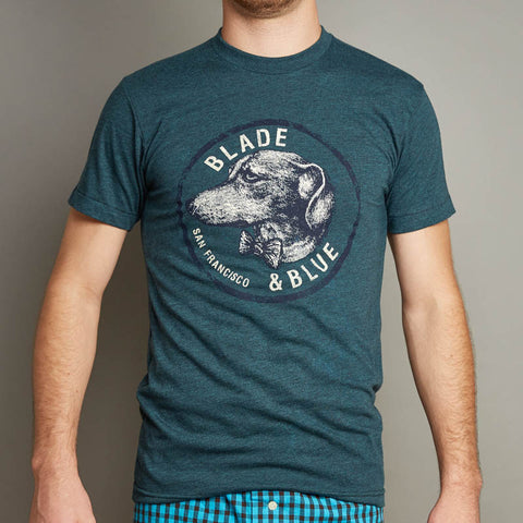 Teal Blue Dachshund with Bow Tie Crest Tee