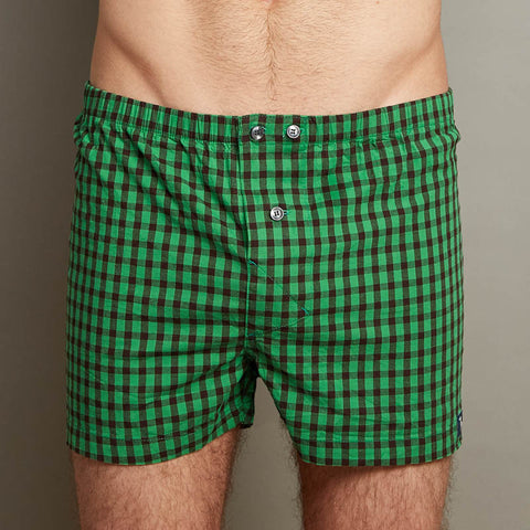 Kelly Green & Black Check Boxer Short - Prince