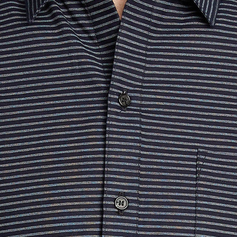 Japanese Indigo Blue Horizontal Stripe Short Sleeve Shirt - Rogers
