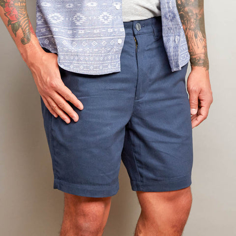Navy Blue Cotton Twill Shorts