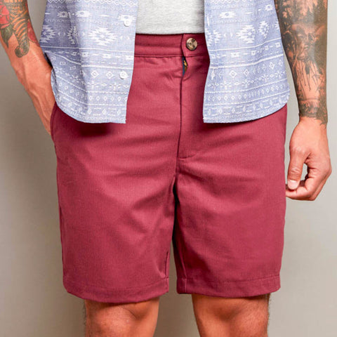 Burgundy Wine Cotton Twill Shorts
