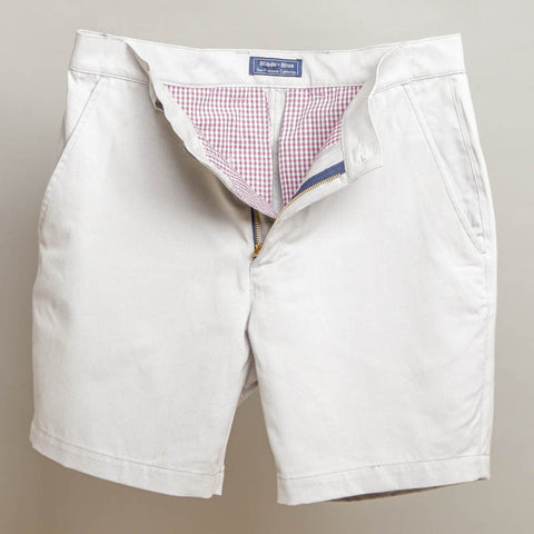 Light Grey Cotton Twill Shorts