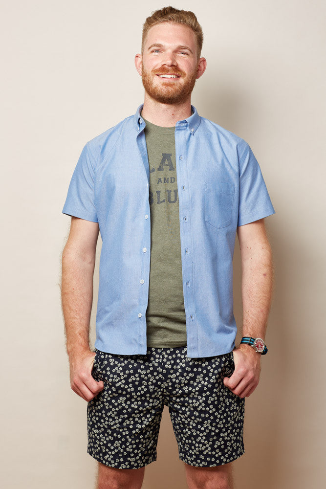 Solid Blue Chambray Short Sleeve Shirt - ELBERT